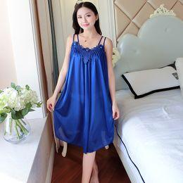 1fd2ecee13 Ladies Sexy Silk Satin Night Dress Sleeveless Nighties V-neck Nightgown  Summer Nightdress Lace Night Gown Sleepwear For Women