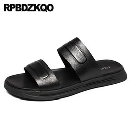 italian slippers shoe Promo Codes - Slippers Water 2018 Slip On Slides Men Sandals Leather Summer Open Toe Black Strap Fashion Platform Beach Flat Shoes Italian