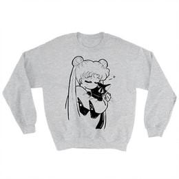 Wholesale Cat Top Hat - Fashion Sailor Moon printed sweatshirt anime Usagi Luna kitty cat Serena casual tops women fashion jumper harajuku Japanese top