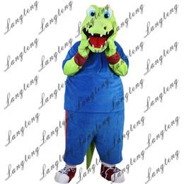 Trajes de cocodrilo online-2018 Nueva alta calidad Sport Green Crocodile Mascot disfraces para adultos circo navidad traje de Halloween traje de lujo traje envío gratis