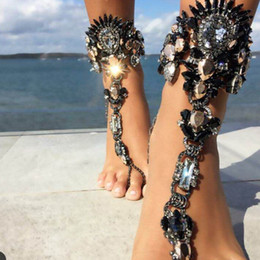 Cavigliere a braccio online-Hot Summer Ankle Bangles Beach Holiday Sandali Gambe femminile Crystal Anvil Bracciali Gioielli sexy Crystal Anklets