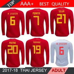 Maillot manches longues espagne en Ligne-Coupe du monde 2018 manches longues 18 19 Maillot de foot Espagne équipe nationale A.INIESTA MORATA RAMOS ASENSIO Maillot ISCO SAUL AWAY