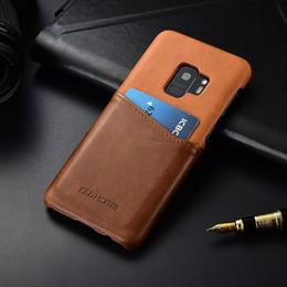 Galaxie-taschenfarbe online-Großhandel für Samsung Galaxy S9 Plus KEZiHOME Luxus Echtleder Hit-Farbe Hard zurück Abdeckung für Galaxy S9 mit Card Pocket funda