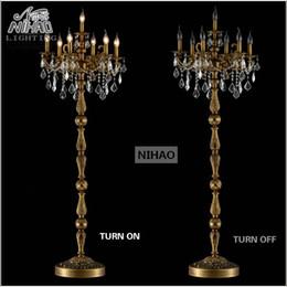 Wholesale Floor Standing Candelabra - Classic 7 Lights Crystal Floor Lamp, Floor Stand Light Fixture Cristal Lustre Candelabra Standing Lamp Centerpiece