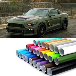 Wholesale Car Wrap Blue Matte - 50*300 Fashion Car Styling Stickers Army Green Matte Flim PVC Vinyl Wrap Car Body Film for Motorcycle Bicycle Auto Accessories