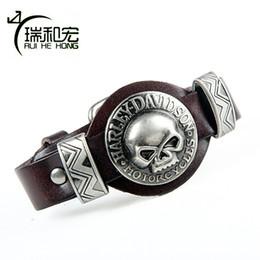 Wholesale wholesale adjustable leather bracelets buckle - whole saleGenuine Leather Bangle Alloy Skull Bracelet Street Fashion Adjustable Belt Buckle Bracelets & Bangles Men's Rock Jewelry