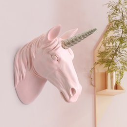 Adesivi appesi a parete online-INS Giocattoli Unicorno Testa Wall Hanging Decoration Carino 3D Wall Stickers per bambini Bedroom Decor opere d'arte Toy Stuffed Animal Heads Nursery Wall Decal