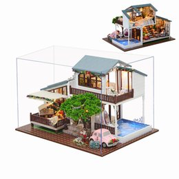 Wholesale London Cover - Wholesale- CuteRoom A-039-B London Holiday Christmas Gift DIY Dollhouse With Cover Light Car Music House Model Best Toy Gift For Girl