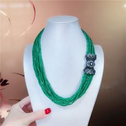 Canada Noué à la main dongling naturel fait face perles de jade vert multicouche incrustation micro zircon panier de fleurs fermoir collier chaîne de chandail Offre