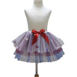 Jupe de danse blanche en Ligne-4 juillet nouvelle jupe bleu roi filles blanches avec Star Fashion coloré enfants jupe Tutu danse filles