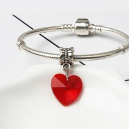 2019 pandora dangle heart heart charm Big Red Heart Dangle Charme Bead Big Hole Moda Feminina Jóias Estilo Europeu Para Pandora Pulseira Colar Pulseira pandora dangle heart heart charm barato