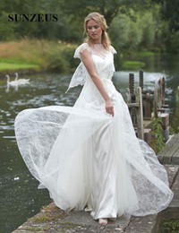 Wholesale Dresses Dentelle - Vintage Lace Wedding Dresses Country Garden Bridal Gowns Elegant Women Dress For Brides robe dentelle blanche
