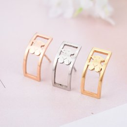 Wholesale Rose Onyx - High Quality Stud Stainless Steel Bear Earrings Silver Gold Rose Gold Plated Hollow Square Shape Earrings Fashion Design Never Fade