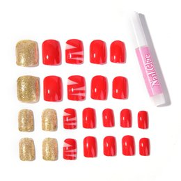 Wholesale nail glue 2g - Hot Sale 24pcs set Red French Fake Fingernails Nail Tip Artificial False Acrylic Design Fake Full Nails Art Sets (2g Nail glue)