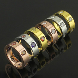 Wholesale Fine Cz Jewelry - Fashion jewerly 316L Titanium Steel 18K rose gold plated carter screw love CZ Ring For Women man wedding Ring 18K Gold plated Fine jewelry