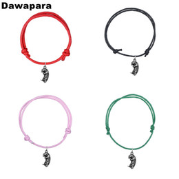 cute bracelet korean fashion Coupons - Dawapara Cute Sea Otter Alloy Pendant Fashion Bracelet Handmade Korean Wax Cord Adjustable Trendy Chain Charm Jewelry For Gift
