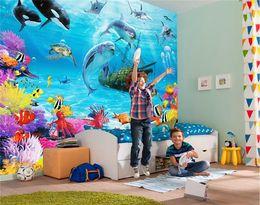 3D мультфильм подводный мир настенная роспись обои персонализированные настройки детская комната Эко дружественный влагостойкий фото обои cheap eco friendly murals от Поставщики экологически чистые фрески