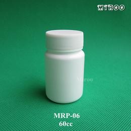 2019 pequeñas botellas de medicina 50 set / lote 60cc botella de cápsulas de plástico de diseño de forma redonda, HDPE pequeña píldora de plástico medicina botella recargable blanca pequeñas botellas de medicina baratos