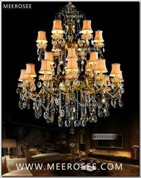 Deutschland Große 3 Ebenen 24 Arme Kristall Kronleuchter Leuchte Antik Messing Luxuriöse Kristall Glanz Lampe MD8504-L24 D1150mm H1400mm cheap large brass light Versorgung