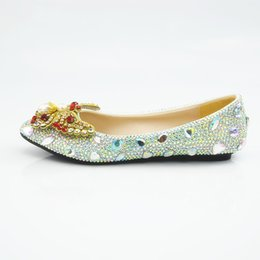 2019 zapatos de boda bling pisos Nuevo hecho a mano AB Crystal Bling Bling Novia mujeres embarazadas Pisos Punta Redonda Rhinestone Perla bowtie Zapatos de Boda Tallas grandes rebajas zapatos de boda bling pisos