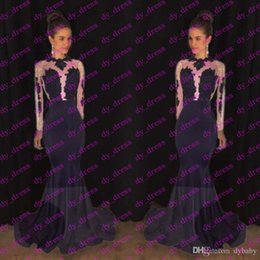 Wholesale Size 14 Girls Prom Dress - 2017 sexy elegant long lace evening gowns royal blue black girl western country woman dress long sleeves prom formal dresses mermaid