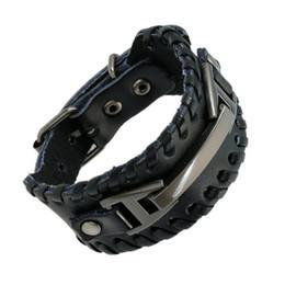 Wholesale Titanium Leather Mens Bracelet - Punk Male Bracelet Wide Genuine Cowhide Leather Cuff Bracelet Wristband Wrap Titanium Plated Mens Bangles Belt Buckle Jewelry