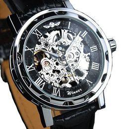 Лучшие черные наручные часы онлайн-Winner  Mens Black Skeleton Hand Wind Mechanical Watch Wrist Watch hours Black Leather Strap The best Christmas gift