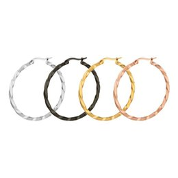 Wholesale Hoop Earrings Gold Twisted - Fashion Cute Twist Distort Rounded Big Hoop Earrings for Women Gold Silver Black Stainless Steel Fashion Jewelry Earrings 6 size
