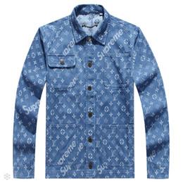 Jeans long floral on-line-Novo luxo mens designer jaquetas carta floral padrão de jeans homens jaqueta de manga comprida gola mens jaqueta