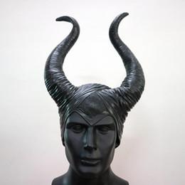 2019 cosplay malizioso Maleficent Horns Hats Casco Testa Cover Bar Ox Horn Maschera Cosplay Sleeping Beauty Strega Halloween Costume Party Copricapo Cappello 21py gg cosplay malizioso economici