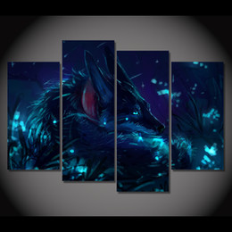 Wholesale Oil Painting Landscapes Dark - canvas painting 4 pieces dark night wolf canvas art HD printed poster home decor pictures for living room free shipping XA1559A