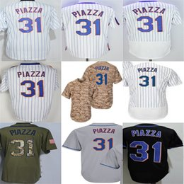 Wholesale Womens Camo Shorts Xl - 2016 New cheap Mens Womens Toddlers Kids New York #31 Mike Piazza Black White Camo Green Jersey Stitched Baseball Jersey XS-6XL Hot sale