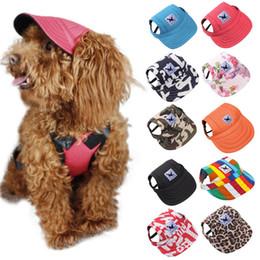Boné de beisebol pequeno on-line-Chapéu do cão Com Furos de Orelha Verão Boné de Beisebol Da Lona Para Pequeno Cão de Estimação Ao Ar Livre Acessórios Caminhadas Pet Products-10 Estilos