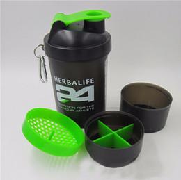 Plastikschüttlerbecher online-3 schichten Wasserflasche Mode Tragbare Weltraumschale Herbalife Nutrition Benutzerdefinierte Protein Pulver Shaker Plastikflasche
