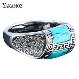 Wholesale Men Ring Design Stone - whole saleYAKAMOZ New Fashion Blue Stone Rings with Rhinestone Special Design Charms Rings for Men & Women Jewelry Gifts Top Quality