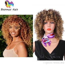 Parrucca borgogna miscela online-16 pollici lunghe parrucche afro ricci crespi per donne nere Biondo misto marrone parrucche sintetiche biondi colore rosso bordeaux parrucche parrucche all'uncinetto treccia