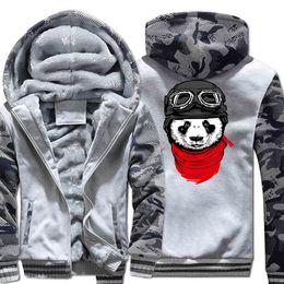 sweat à capuche zippé Promotion Hoodies Hommes 2017 Hiver Polaire Marque Sweat Pour Hommes Plus La Taille 5XL Épais Capuche Zipper Survêtements Cool Panda Hip Hop Vestes
