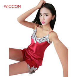 WICCON Ladies Sexy Silk Satin Pajama Set Lace Pyjama Set Sleeveless Pijama  V-neck Sleepwear Summer Home Sleep Wear Women2018 123051afc