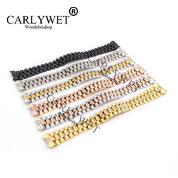 Wholesale bracelet screw ends - CARLYWET 20mm Silver Black Middle Gold Solid Curved End Screw Links Stainless Steel Replacement Wrist Watch Band Bracelet Strap