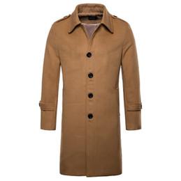 новые куртки мужские европейского стиля Скидка Европа/США размер новый бренд шерстяное пальто мужская мода длинные пальто Англия стиль полушубок однобортный куртка мужской пальто