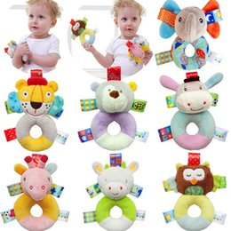 Wholesale Girls Development - 0-12 Months Newborn Cute Cotton Baby Boy Girl Rattles Infant Animal Hand Bell Kids Plush Toy Development Gifts