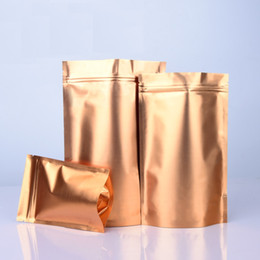 2019 sacs de doypack Tenez le sac de ZipLock de papier d'aluminium d'or pour le paquet de poudre de casse-croûte de nourriture séchée refermable Doypack Mylar sac sacs de doypack pas cher