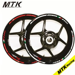 Wholesale Rims Decals - MTKRACING Motorcycle FIT APRILIA RSV4 17'' 12 X Thick Edge Outer Rim Sticker Stripe Wheel Decals