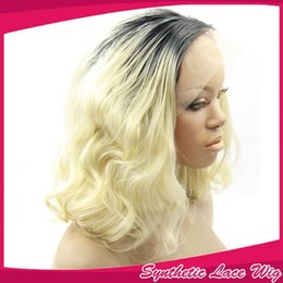 Wholesale Two Tone Blonde Short Wigs - Short Bob Ombre Wig Body Wave Two Tone Color Black to Blonde Synthetic Lace Front Wig Heat Resistant with Baby Hair for Women 1BT613#