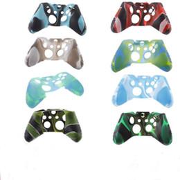 uno controladores Rebajas Para Xone silicona suave camuflaje flexible cubierta de la caja de la piel de goma para Xbox One Slim controlador agarre cubierta OTH902