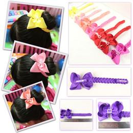 Wholesale Hair Buns For Girls - 5 Pcs Hair Bun Wraps Boutique Hair Bows Head Wrap Hair Clips Bows Hairband Headbands For Girl Women Pd020