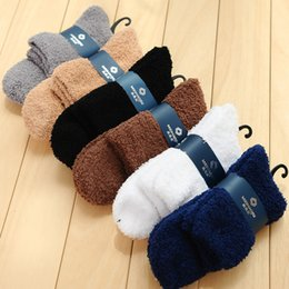 Wholesale Fuzzy Fleece - Hot Sale Fuzzy Socks for Men Fashion Solid Color Coral Fleece Socks Winter Warm Casual Socks