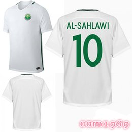 Wholesale National Names - 2018 Saudi Arabia Home Whtie Soccer Jersey Saudi Arabia National Soccer Shirt Customized any name number Football jerseys Uniforms Sales