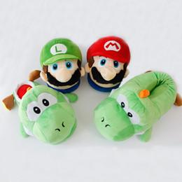 Schuhe plüsch spielzeug pantoffel online-Super Mario Bros Mario Luigi Winter Hausschuhe Yoshi Cosplay Gefüllte Plüsch Stofftier Schuhe Unisex Hausschuhe Bodenschuhe
