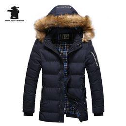 Wholesale jackets hoods for men - New Winter Men's Parkas Designer Fashion Fur Collar Plus Size Fleece Thicken Casual Jacket Coat For Men Overcoat M~2XL BF999